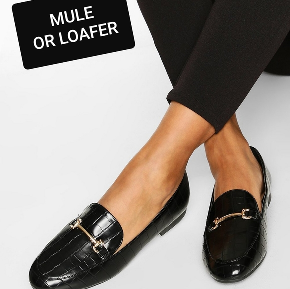 Croc Embossed Flat Loafers or Mules